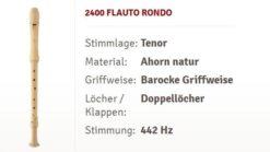 Moeck Flauto Rondo Tenor Ahorn Flöte 2400